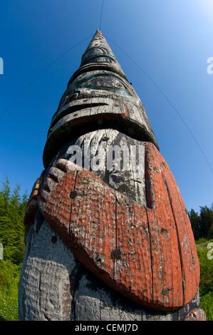 The world's tallest totem pole, 130', carved by the Tlingit people, Kake, Alaska - Stock Photo