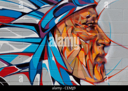 Contemporary street art, Native American Indian - Stock Photo