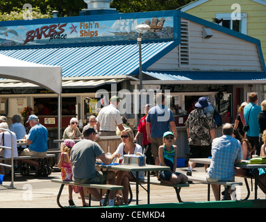 Barb's Place in Fisherman's Wharf Victoria on Vancouver Island in Canada - Stock Photo