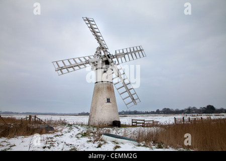 Cold winter's day on Thurne Marshes, Norfolk - Stock Photo