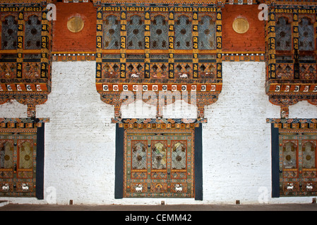 ornate window in typical Bhutanese architecture in the fortress Phunaka Dzong or Punthang Dechen Phodrang Dzong, - Stock Photo