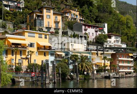 The municipality of Ronco sopra Ascona on the shores of lake Lago Maggiore, Ticino, Switzerland - Stock Photo