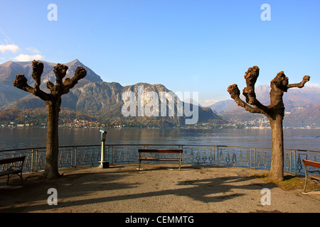 View on Lake Como and mountains in north Italy. - Stock Photo
