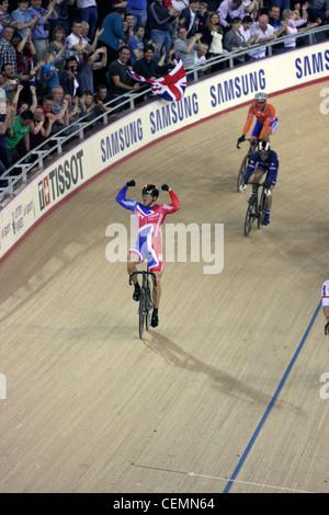 Sir Chris Hoy celebrates after winning the Men's Keirin bike race at  the London 2012 Olympic Velodrome. - Stock Photo