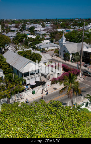 Key West panorama with Whitehead street and Newman Methodist church - Stock Photo