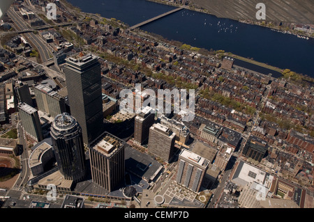 Boston's Back Bay area and downtown as seen from the air on April 26, 2008. Aerial, Boston/Cambridge, MA - Stock Photo