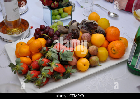 Fruit selection gastronomy dinner party table display - Stock Photo