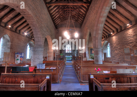 Interior view of St Marys Church Linton, Forest of Dean Micheldean, Gloucester, Glos, England, UK. Shows stonework - Stock Photo