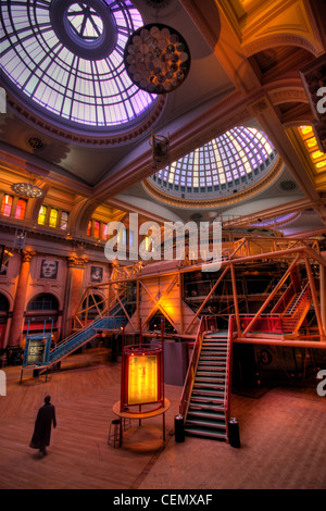 Inside the Royal Exchange Theatre with a person in black, City Centre Manchester, Lancashire, UK England, GMC. - Stock Photo