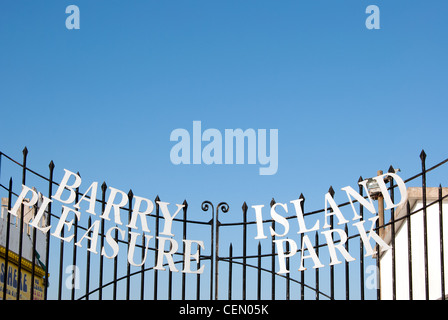 Barry Island Pleasure Park Sign at Barry Island, South Wales, UK - Stock Photo