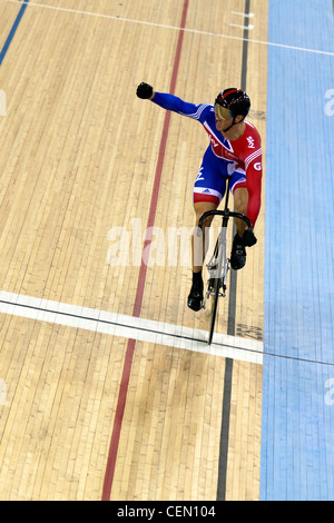 Sir Chris Hoy winning the Sprint Final UCI Track Cycling World Cup 2012 part of the London Prepares series for the - Stock Photo