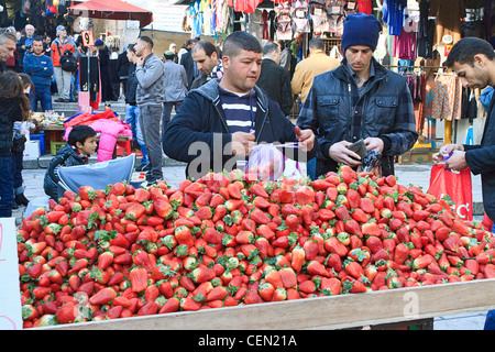 Fresh strawberries for sale in the Old City of Jerusalem, Israel. - Stock Photo