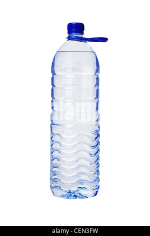 Plastic Bottle of Water with Handle on White Background - Stock Photo