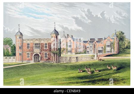 Charlecote Park grand country house deer park Warwickshire England Grade I listed building Tudor great hall - Stock Photo