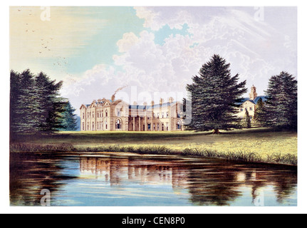 Compton Verney House country mansion Kineton Warwickshire England Art Gallery Grade I listed house Robert Adam Lake - Stock Photo