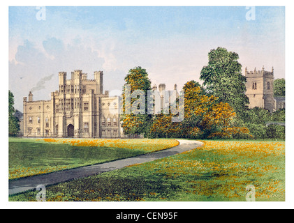 Coughton Court English Tudor country house Warwickshire Grade I listed building crenelated turrets Renaissance drive - Stock Photo