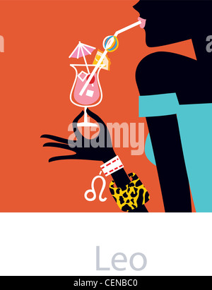 Illustrated star signs Leo Female wearing a blue off the shoulder dress and bangles, drinking a cocktail - Stock Photo