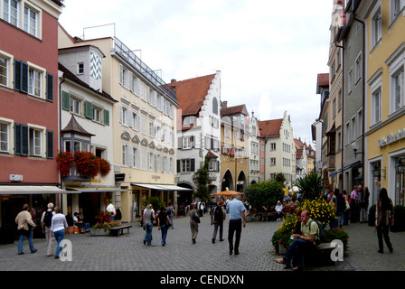Old town of Lindau in Lake Constance. - Stock Photo