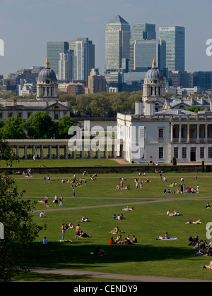 UK, England, London, Canary Wharf Isle of Dogs from Greenwich - Stock Photo