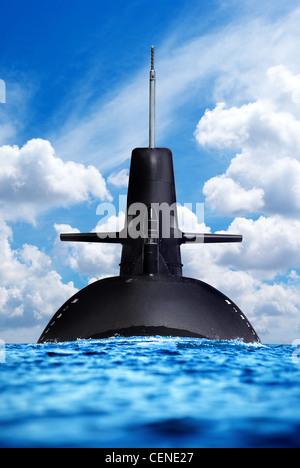 Submarine in the open sea - Stock Photo