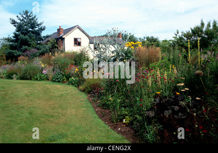 Donadea Lodge, Babell, Flintshire Garden neat green lawn, colourful ...