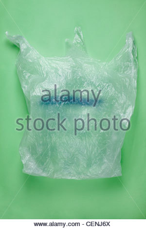 a one time use plastic supermarket shopping bag - Stock Photo