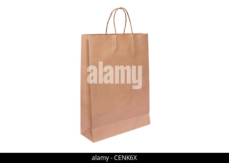 Shopping paper bag isolated on white background - Stock Photo