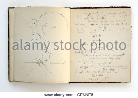 page from a students school notebook from 1883 - Stock Photo
