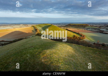 View from Corton Hill towards Parrock Hill, Cadbury Castle and Glastonbury Tor in the distance. Somerset. England. - Stock Photo