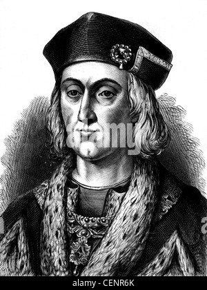 Henry VII (1457-1509) first Tudor king of England from 1485 Wood engraving end of XIX th century - London - Stock Photo