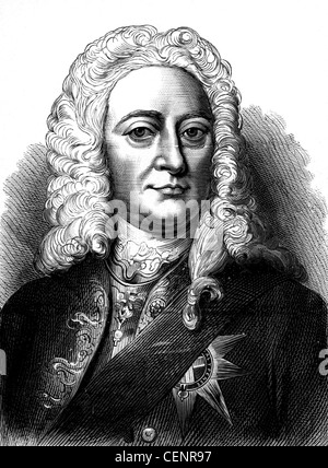 George II (1683-1760) king of Great Britain and Ireland from 1727. .Wood engraving end of XIX th century - London - Stock Photo