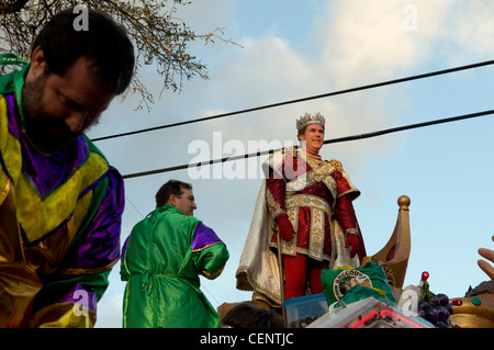 Will Ferrell on the king's float, New Orleans Mardi Gras King of Bacchus 2012 - Stock Photo