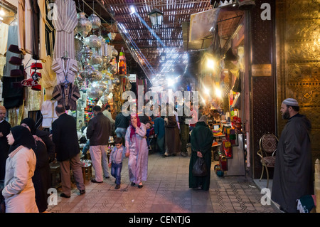 Rue Souk Smarine in the Souks, Medina, Marrakech, Morocco, North Africa - Stock Photo