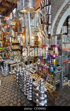 Shop selling metalwork in the souks, Medina district, Marrakech, Morocco, North Africa - Stock Photo