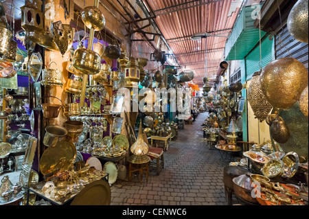 Shops selling metalwork in the souks, Medina district, Marrakech, Morocco, North Africa - Stock Photo