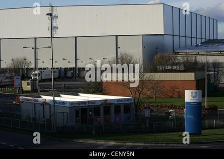 unilever company gates at gloucester uk factory - Stock Photo