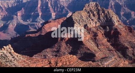 Evening light on Vishnu Temple, from Cape Royal, North Rim, Grand Canyon National Park, Arizona, USA - Stock Photo