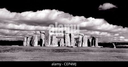 Panoramic black and white shot of Stonehenge in England done in a Ansel Adams style - Stock Photo