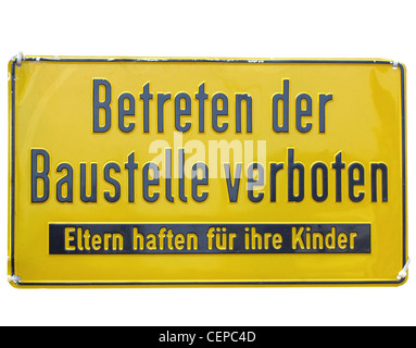 Construction site sign - in German (Deutsch) - isolated over white background - Stock Photo