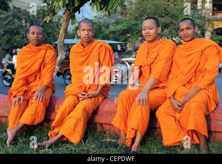 Group of young monks. Phnom Penh, Phnom Penh, Cambodia, South-East Asia, Asia - Stock Photo