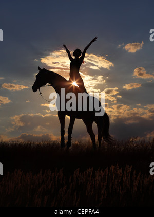 Silhouette of a girl and horse at sunset - Stock Photo