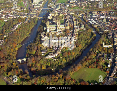 historic aerial view of Durham City taken November 1991 - Stock Photo
