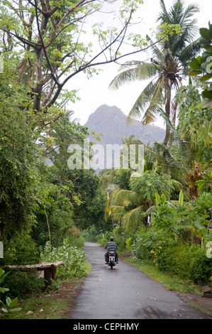 Man On Motorcycle In Bali - Stock Photo