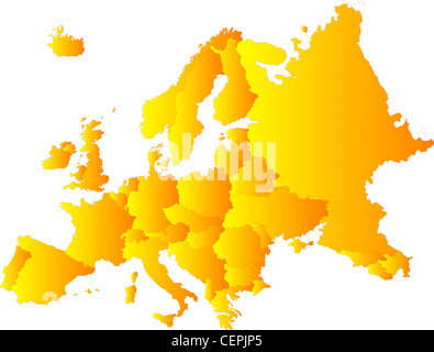 Europe vector color map illustration - Stock Photo