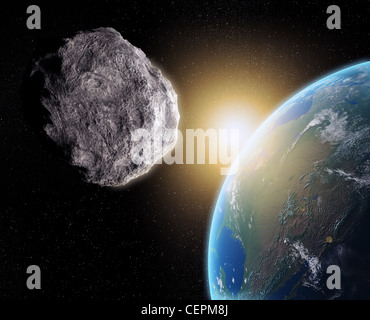 Large Asteroid closing in on Earth - Stock Photo