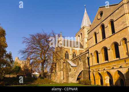 Rochester Cathedral in Rochester, Kent, UK - Stock Photo