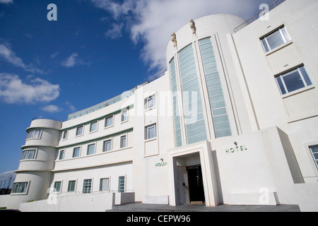 The entrance of The Midland Hotel, an Art-Deco classic on the seafront in Morecambe Bay. - Stock Photo