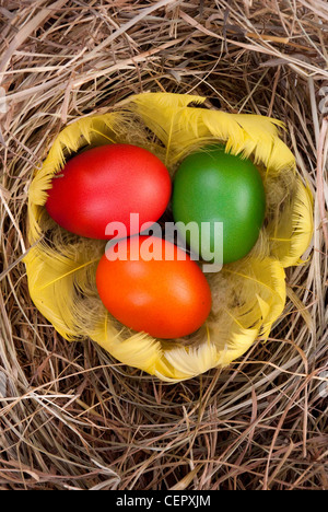 three colourful eggs in feather on hay - Stock Photo