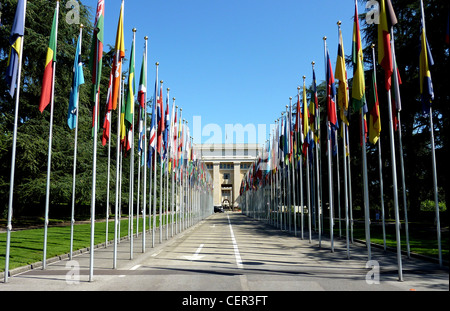 United Nations in Geneva, Switzerland, with all flags by beautiful weather - Stock Photo