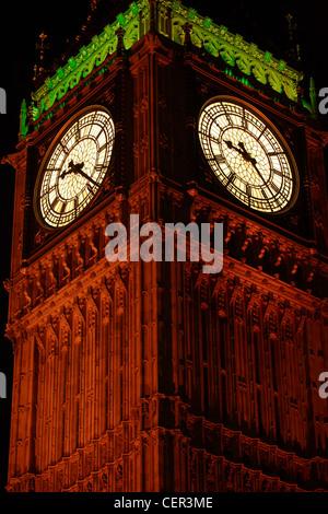 Big Ben. Night close up of clock face at the palace of ...